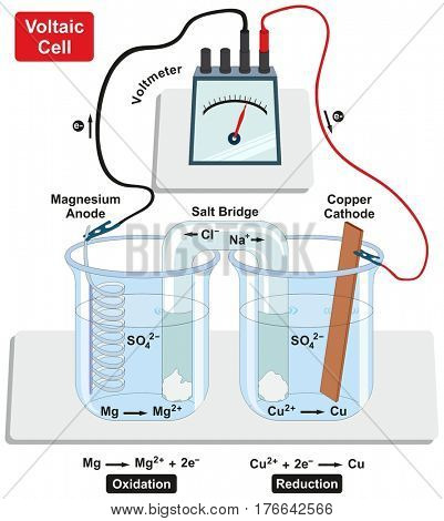 Voltaic Galvanic Cell with copper cathode and magnesium anode salt bridge voltmeter and process of oxidation and reduction diagram for physics and chemistry science education