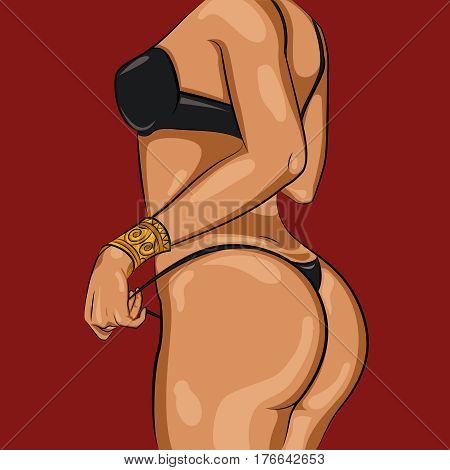 Cartoon sexy woman body template in nice black lingerie and gold bracelet on hand vector illustration