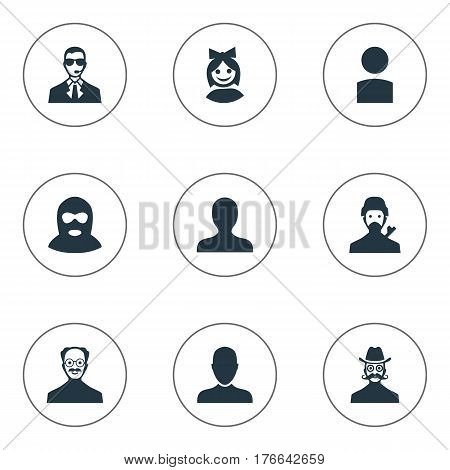 Vector Illustration Set Of Simple Human Icons. Elements Moustache Man, Job Man, Felon And Other Synonyms Member, Bodyguard And User.
