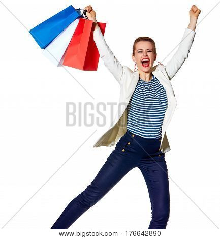 Happy Woman With Shopping Bags On White Background Rejoicing