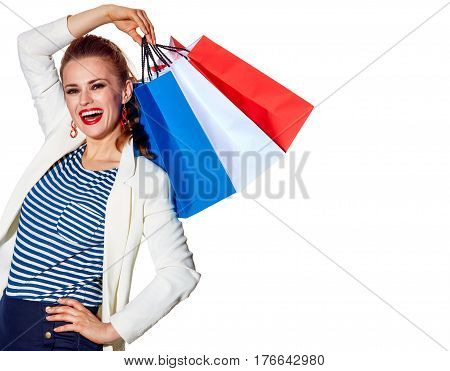 Happy Young Woman With French Flag Colours Shopping Bags