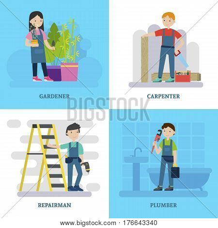Professional workers square concept with specialists of different occupations and construction repair tools vector illustration