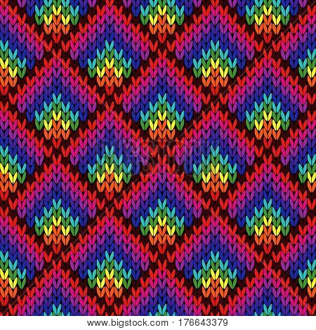 Knitting Seamless Colourful Geometric Pattern