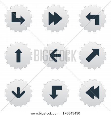 Vector Illustration Set Of Simple Cursor Icons. Elements Reduction, Pointer, Rearward And Other Synonyms Pointing, Forward And Decline.