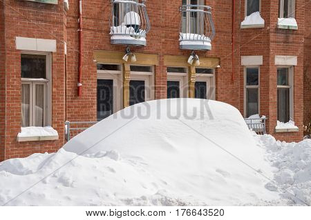 Montreal Canada - 16 March 2017: Cars covered with snow after Stella snow storm.