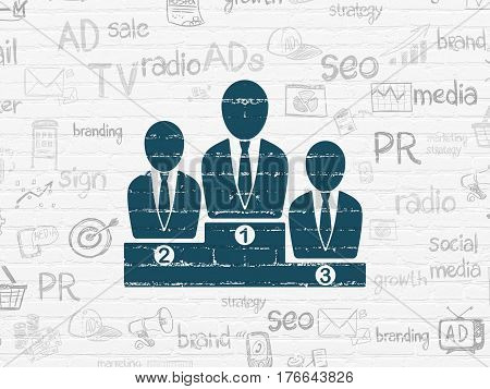 Advertising concept: Painted blue Business Team icon on White Brick wall background with  Hand Drawn Marketing Icons