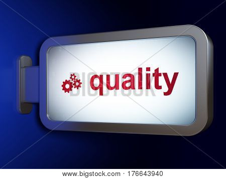 Marketing concept: Quality and Gears on advertising billboard background, 3D rendering