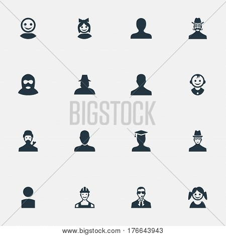 Vector Illustration Set Of Simple Avatar Icons. Elements Male User, Internet Profile, Felon And Other Synonyms Web, Face And Felon.