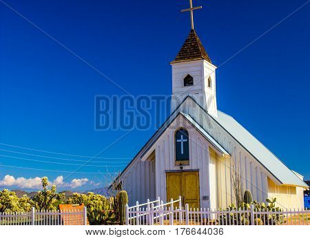 Old Church With Steeple In Arizona Desert