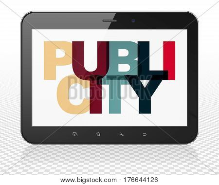Advertising concept: Tablet Pc Computer with Painted multicolor text Publicity on display, 3D rendering