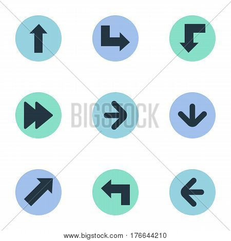 Vector Illustration Set Of Simple Cursor Icons. Elements Pointer, Indicator, Advanced And Other Synonyms Ahead, Direction And Right.