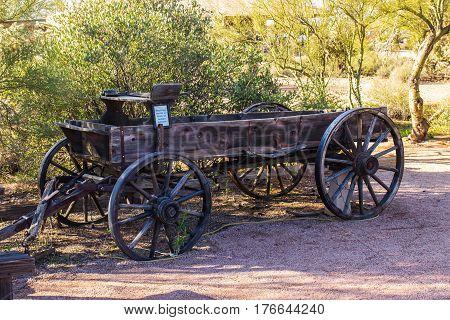 Old Rustic Western Wagon In Arizona Desert