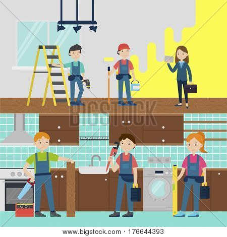 House improvement team horizontal banners with painter carpenter plumber repairman in uniform with equipment and tools vector illustration