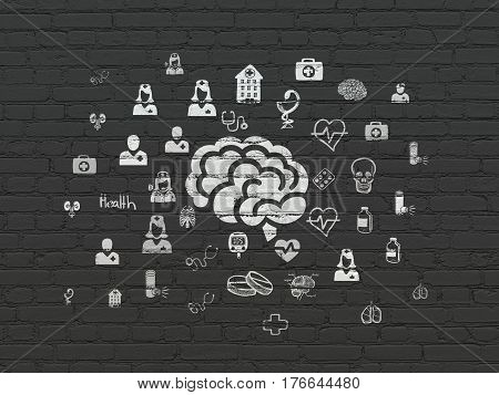 Healthcare concept: Painted white Brain icon on Black Brick wall background with  Hand Drawn Medicine Icons