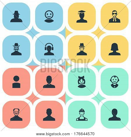 Vector Illustration Set Of Simple Human Icons. Elements Insider, Young Shaver, Proletarian And Other Synonyms Male, Security And Detective.