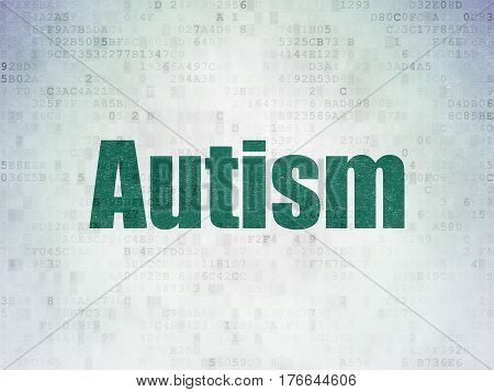 Healthcare concept: Painted green word Autism on Digital Data Paper background