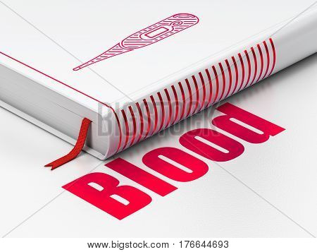 Health concept: closed book with Red Thermometer icon and text Blood on floor, white background, 3D rendering