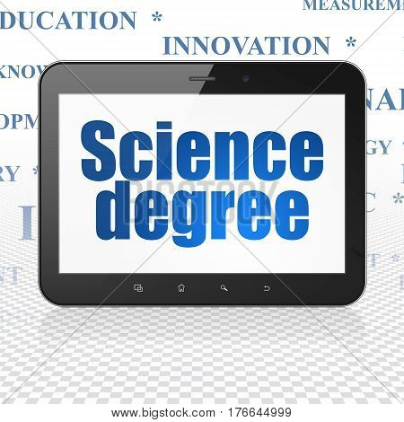 Science concept: Tablet Computer with  blue text Science Degree on display,  Tag Cloud background, 3D rendering