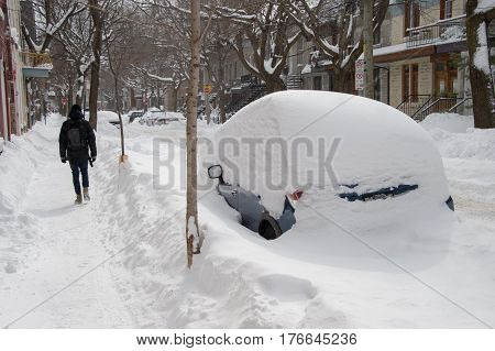 Montreal, Canada - 16 March 2017: Cars Covered With Snow After Stella Snow Storm.
