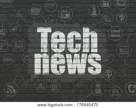 News concept: Painted white text Tech News on Black Brick wall background with Scheme Of Hand Drawn News Icons