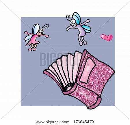 A pink and elven glittering book ,