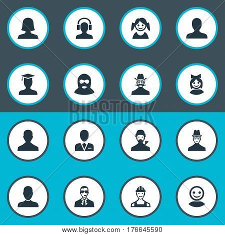 Vector Illustration Set Of Simple Avatar Icons. Elements Spy, Little Girl, Portrait And Other Synonyms Graduate, Small And Spy.