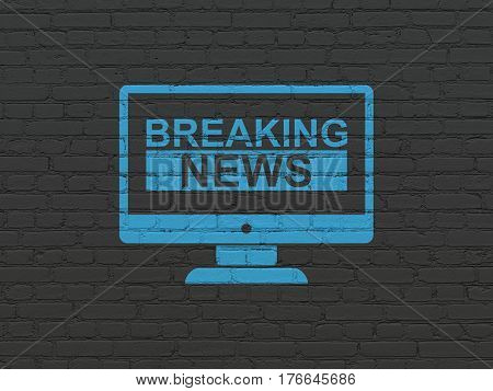 News concept: Painted blue Breaking News On Screen icon on Black Brick wall background