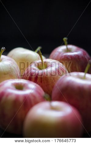 Several color full apples in a dark room
