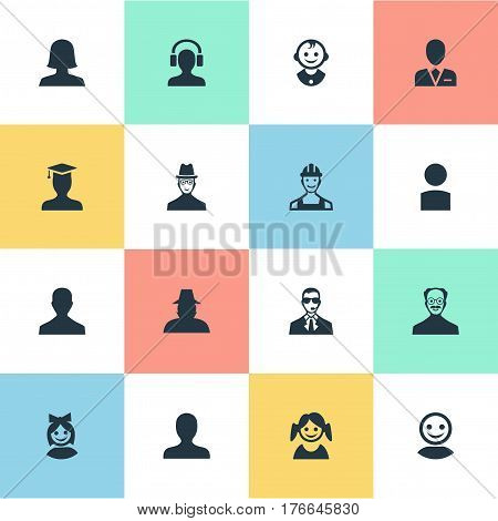Vector Illustration Set Of Simple Member Icons. Elements Little Girl, Postgraduate, Whiskers Man And Other Synonyms Detective, Little And Spy.