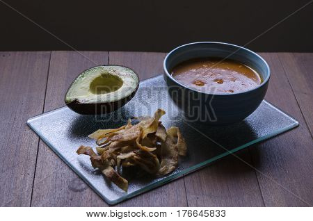 One of the traditional latin food, Azteca Soup
