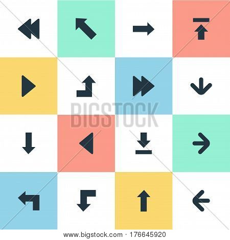 Vector Illustration Set Of Simple Cursor Icons. Elements Reduction, Let Down, Left Direction And Other Synonyms Down, Backward And Upload.