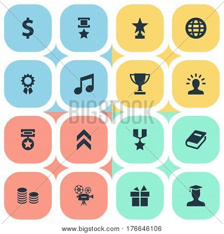 Vector Illustration Set Of Simple Champ Icons. Elements Medal, Victory, Prize And Other Synonyms Champion, Melody And Trophy.