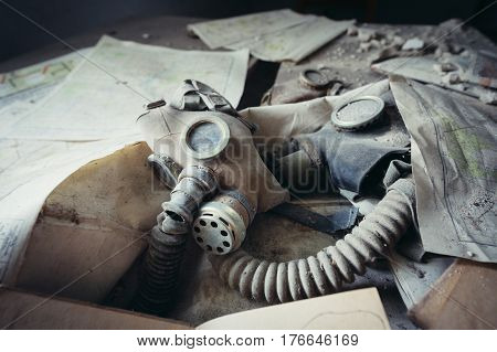 Gas mask in school in deserted Masheve settlement Chernobyl Exclusion Zone Ukraine