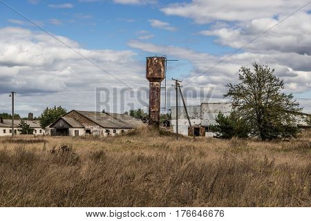 Remains of Soviet collective farm in abandoned Masheve settlement Chernobyl Exclusion Zone Ukraine