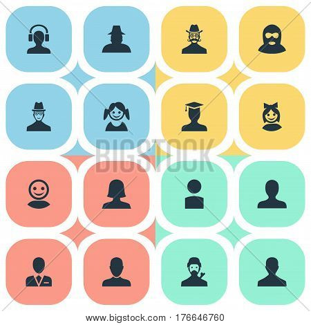 Vector Illustration Set Of Simple Member Icons. Elements Little Girl, Felon, Spy And Other Synonyms Student, Female And Insider.