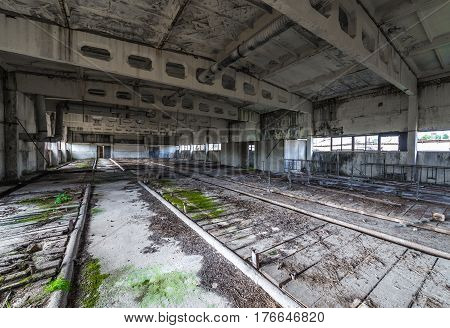 Inside the building of former Soviet collective farm in abandoned Masheve settlement Chernobyl Exclusion Zone Ukraine