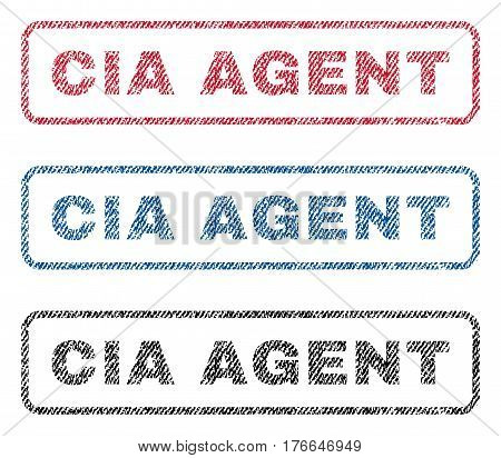 CIA Agent text textile seal stamp watermarks. Blue, red, black fabric vectorized texture. Vector tag inside rounded rectangular banner. Rubber sign with fiber textile structure.