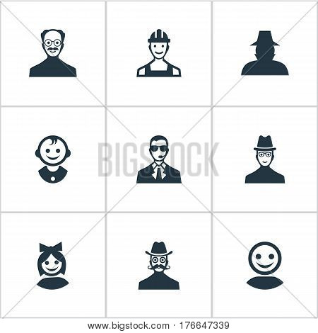 Vector Illustration Set Of Simple Human Icons. Elements Agent, Spy, Bodyguard And Other Synonyms Spy, Mustaches And Mustache.