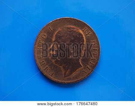 10 Cents Coin, Kingdom Of Italy Over Blue