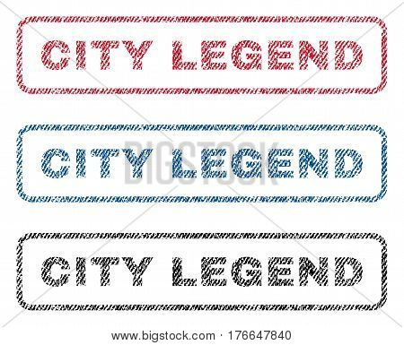 City Legend text textile seal stamp watermarks. Blue, red, black fabric vectorized texture. Vector tag inside rounded rectangular banner. Rubber sign with fiber textile structure.