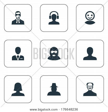 Vector Illustration Set Of Simple Human Icons. Elements Whiskers Man, Male With Headphone, Woman User And Other Synonyms Agent, Workman And Headphone.