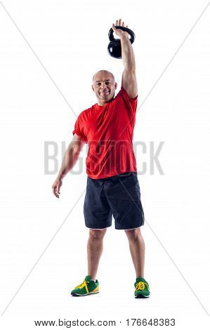 Mature Male Doing Exercises With Weights. Isolated On White