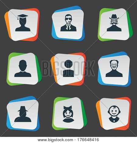 Vector Illustration Set Of Simple Member Icons. Elements Agent, Moustache Man, Job Man And Other Synonyms Man, Agent And Member.