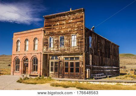 Two Story Brick & Wood Building Fronts In California Ghost Town