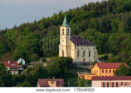 St. Philip and James church - kostel svateho Filipa a Jakuba - in Vsen, Bohemia Paradise, Czech republic. Aerial image
