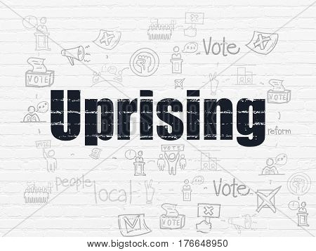 Political concept: Painted black text Uprising on White Brick wall background with Scheme Of Hand Drawn Politics Icons