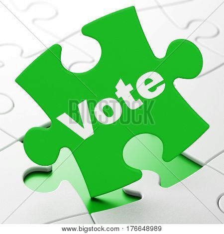 Politics concept: Vote on Green puzzle pieces background, 3D rendering