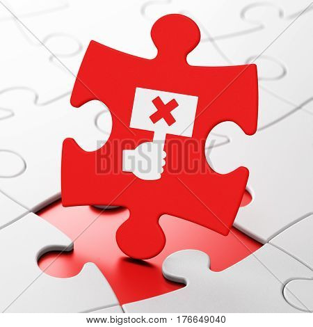 Politics concept: Protest on Red puzzle pieces background, 3D rendering