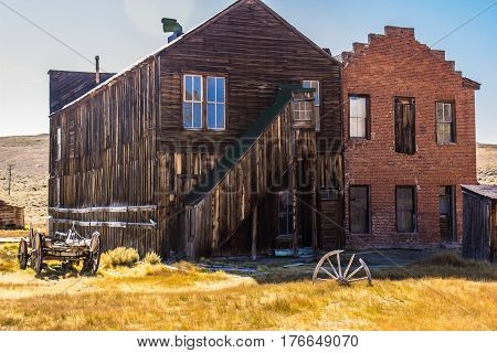 Two Multi Story Brick & Wood Buildings In California Ghost Town