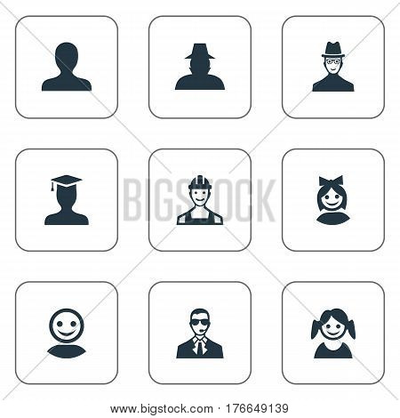 Vector Illustration Set Of Simple Human Icons. Elements Portrait, Little Girl, Postgraduate And Other Synonyms Inspector, Daughter And Face.